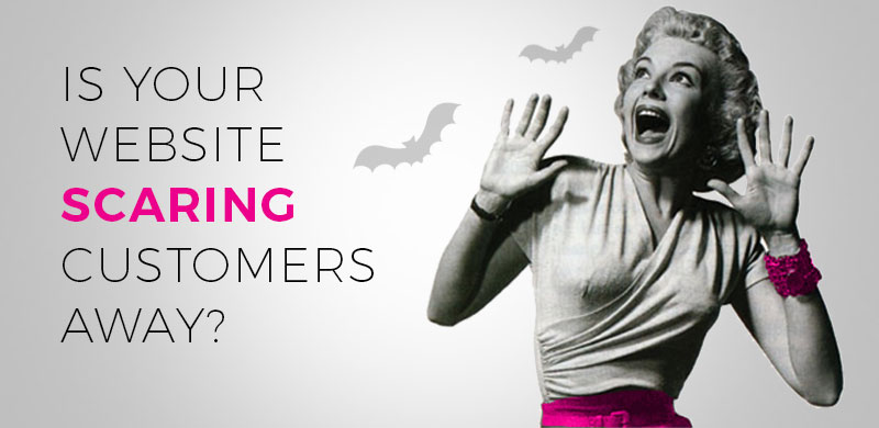 Is your website scaring customers away? Retro image - lady screaming